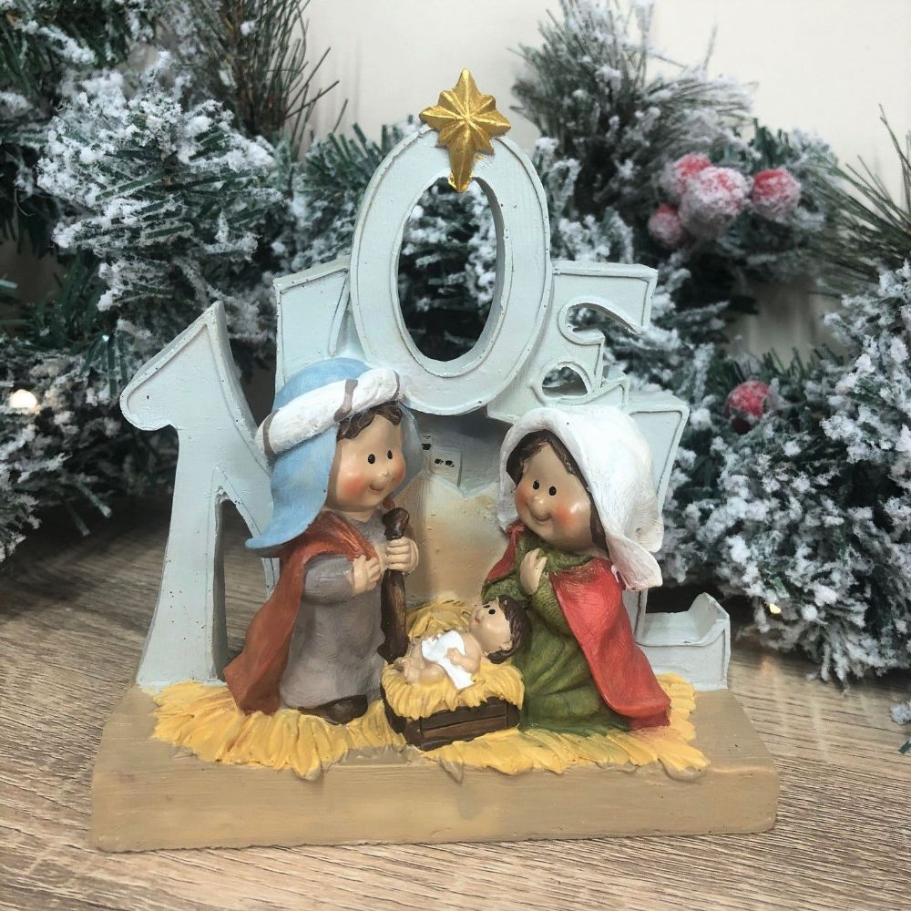 Noel ~ Children's Christmas Mary, Joseph & Jesus Nativity Scene Ornament